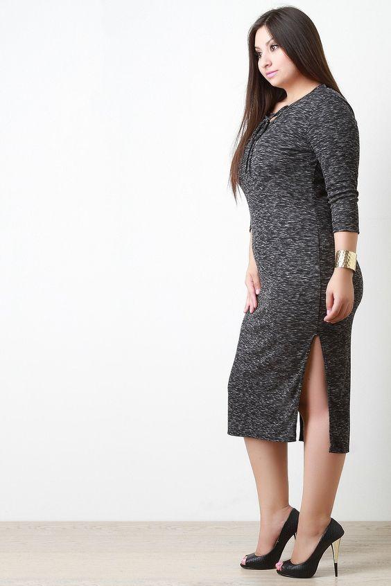 Marled Rib Knit Lace Up Neckline Midi Dress