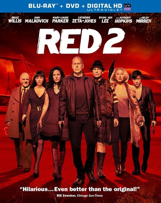 Red 2 (2013) ($14.25) http://www.amazon.com/exec/obidos/ASIN/B008JFURKG/hpb2-20/ASIN/B008JFURKG Lots of action, great cast and just fun! - Was good action movie... thought the first one was a little better. - It not that Bruce Willis or Malkovich or Hopkins were great, Parker was fabulous, Mirren was great and all the cast played their parts so well.