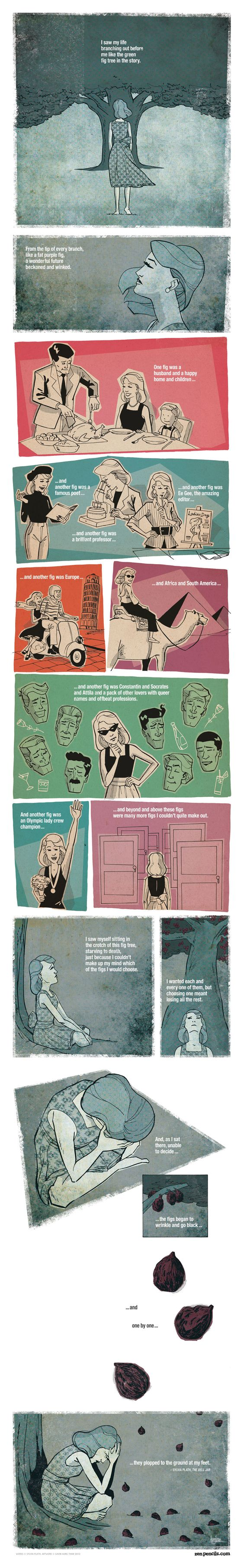 130. SYLVIA PLATH: The fig tree - I love Zen Pencils and I LOVE this passage from The Bell Jar.: