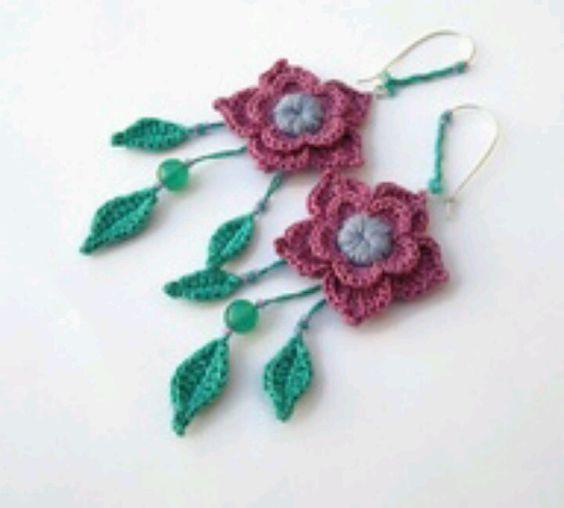 Crochet rose earrings.