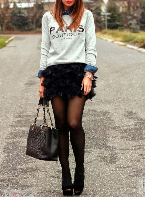fashforfashion -♛ STYLE INSPIRATIONS♛  graphic sweater with a black skirt and heals hmmm i like maybe even with boots