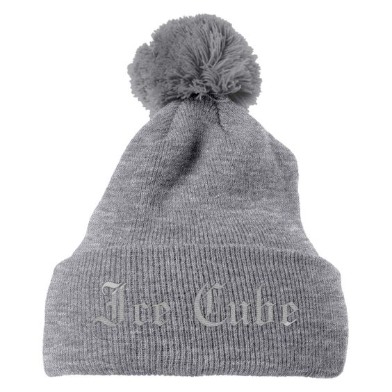Ice Cube Embroidered Knit Pom Cap