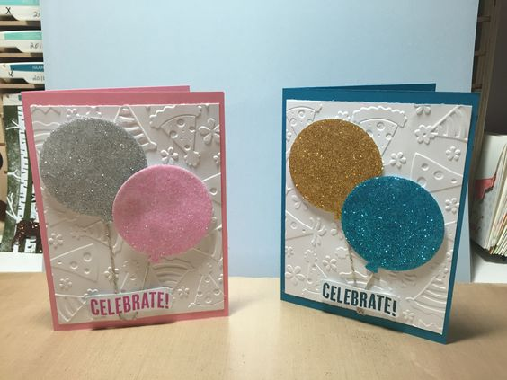 Birthday cards made with stamp up Celebrate Today set and glitter....
