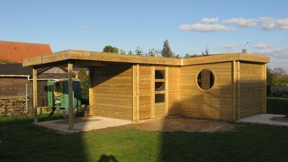 Abri jardin Contemporain en bois autoclave avec toiture en bac ...