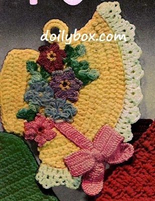Free Vintage Kitchen Crochet Patterns : Free Vintage Crochet - Easter Bonnet Potholder Pattern ...
