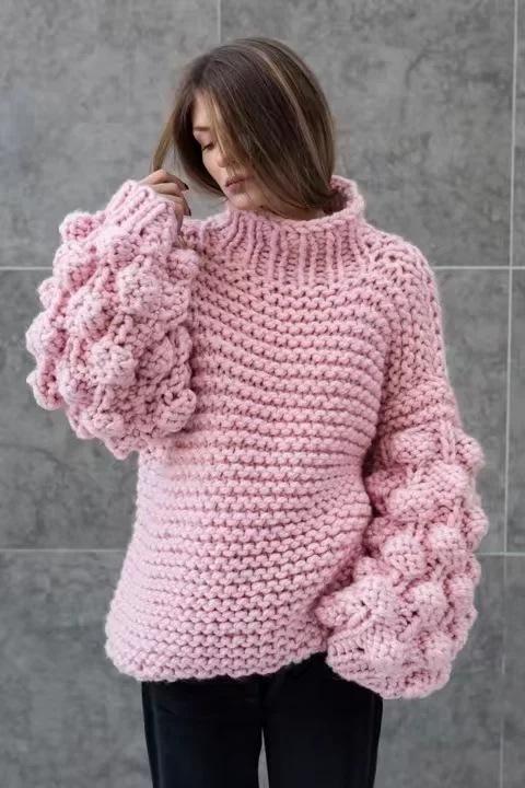 Turtleneck Handmade Knit Long Lartern Sleeves Chunky