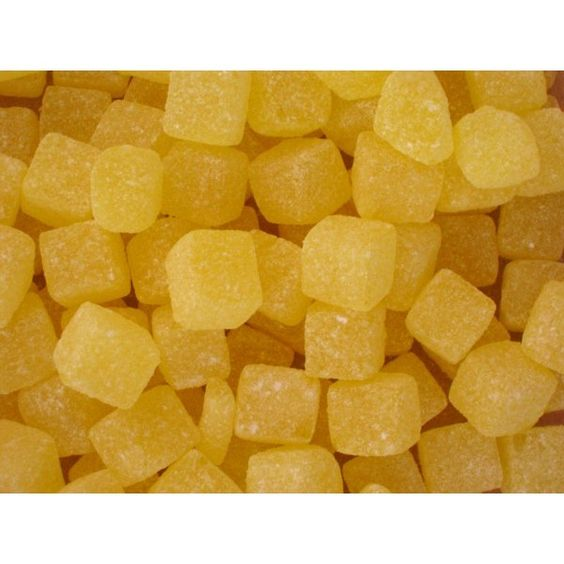 pineapple chunks-loved these, and kola cubes, the roof of my mouth would get sore from eating too many!