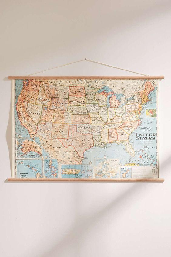 Carte des États-Unis Vintage à suspendre