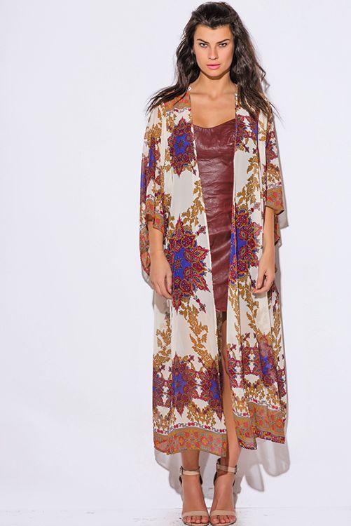 Cute cheap regal print beige chiffon kimono sleeve boho duster dress coat