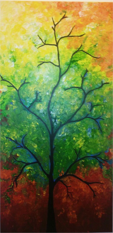 Autumn Light. On 46cm x 90cm Canvas. By 'Aloka'