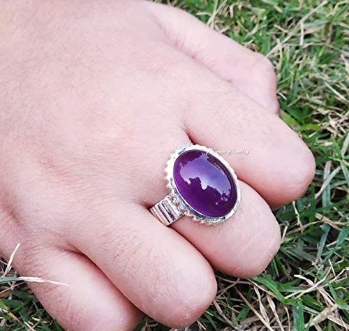 Purple Amethyst Ring Bohemian Ring Boho Ring Oval Shape Amethyst Ring Vintage Ring Gift For Her 925 Sterling Silver Ring
