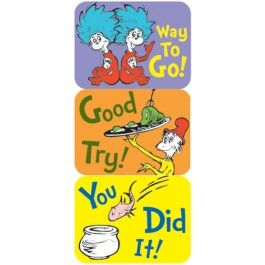 Dr. Seuss Success Stickers! Available at www.NationalSchoolSupply.com!