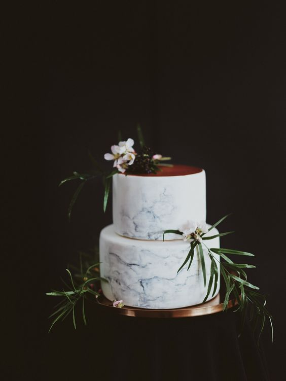 marble & Copper wedding Cake