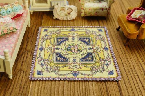Dollhouse Dark Coffee Aubusson Design Antique Swirls Floral Lace Rug