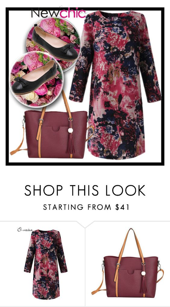 """""""Newchic 19."""" by belma-cibric ❤ liked on Polyvore featuring plus size dresses"""