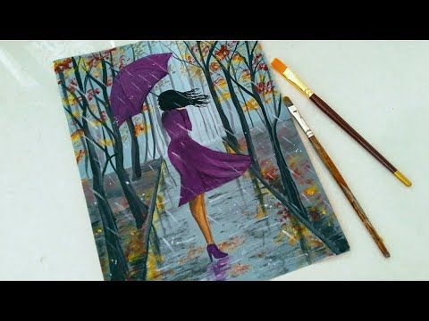 Easy Rainy Season Scenery Drawing For Beginners A Girl Walking