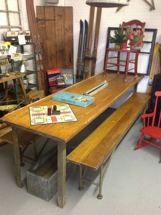 8 Ft. Industrial Chic Table And 2 Matching Benches