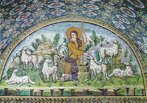 Good Shepherd, mosaic in the lunette over west entrance, Oratory of Galla Placidia, Ravenna, Italy, 425-426