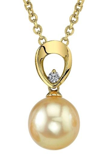 14K Yellow Gold 9mm Golden South Sea Pearl & Diamond Pendant Necklace
