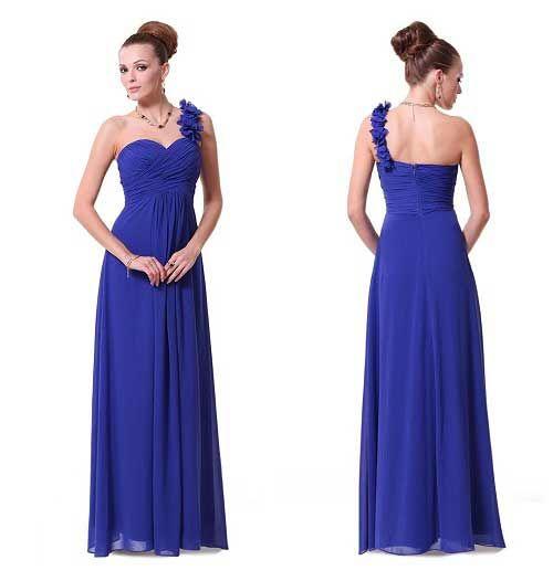 Royal Blue One Shoulder Dress - Dress Xy