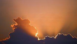 Sun, Sky, Clouds, Gold Sky, Dark Cloud
