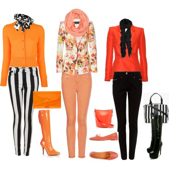 """""""Skinny Jeans in stripes and Summer orange"""" by tonnie-1 on Polyvore"""