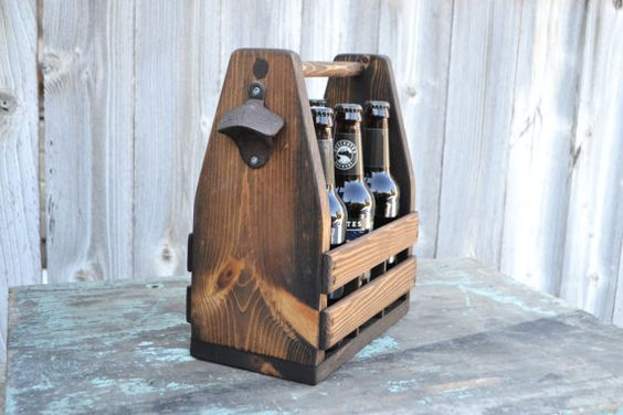 Rustic 6-Pack Beer Tote Bottle Carrier by EagleCapCreations