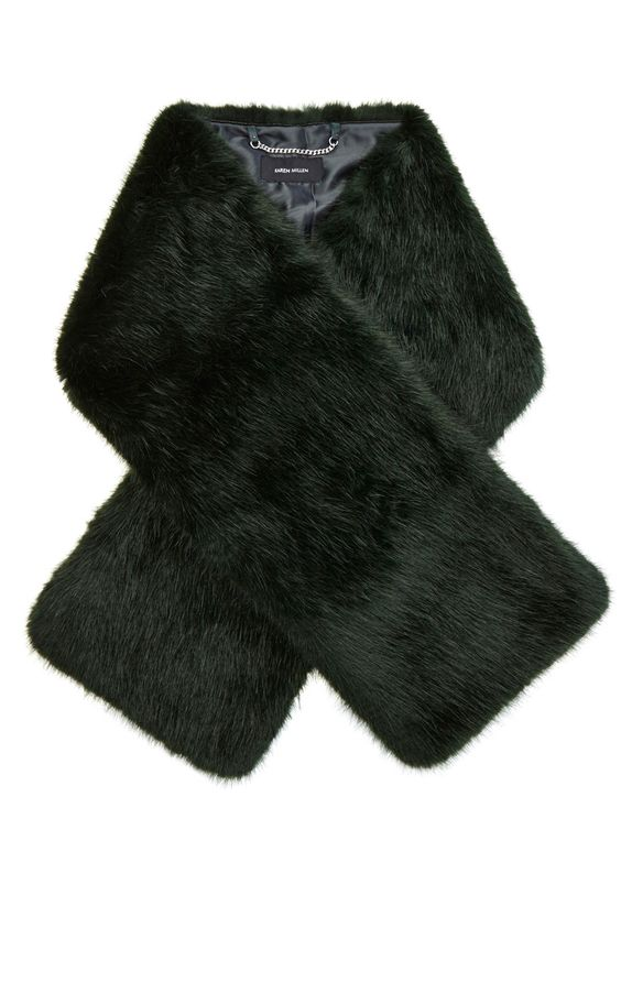 UNSER STYLING-GUIDE | Grün Schal aus künstlichem Pelz | Damenmode | Karen Millen