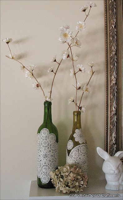 Paper Doily Decoupage Bottles:
