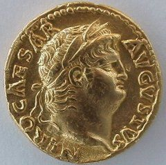 Roman Gold Coin. This looks like Nero. I would be so stoked if I had this one!
