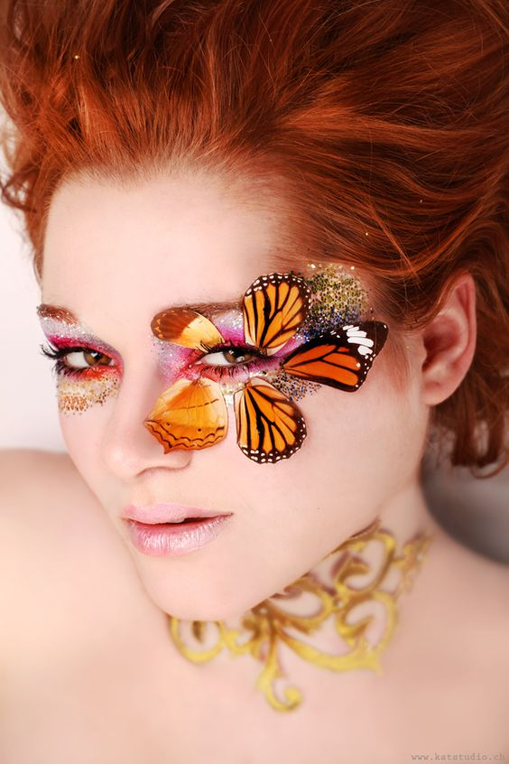 Butterfly costume makeup.