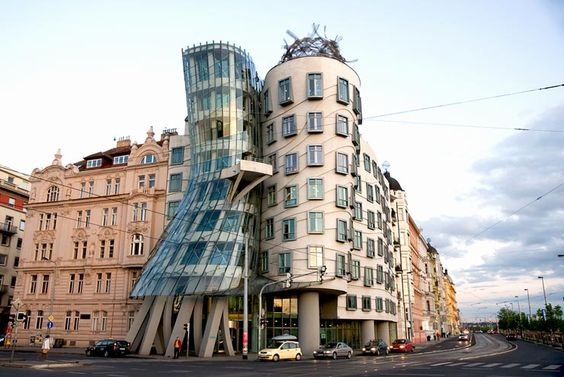 The Dancing House in Prague by Frank Gehry.