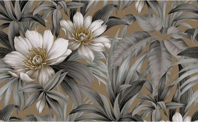 On Sale Today! Dark Brown HT70200 Tropical Wallpaper is unpasted and has 21 inches pattern repeat. Available at InteriorPlace.com