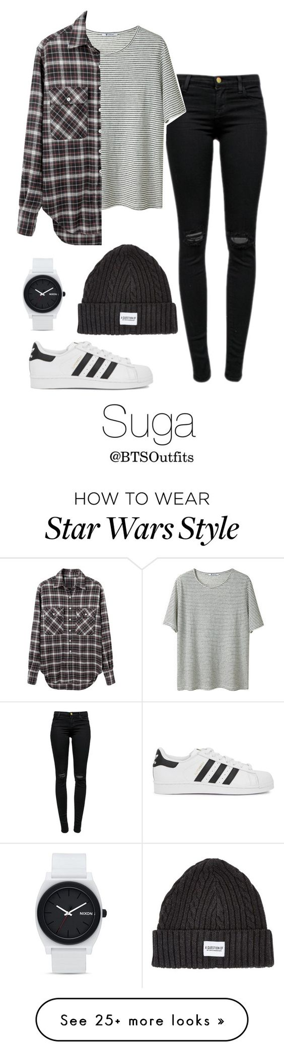 """When you First Meet Him: Suga"" by btsoutfits on Polyvore featuring J Brand, T By Alexander Wang, A Question Of, adidas Originals, R13 and Nixon"