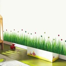 mode uitneembare diy groene gras plinten lijn kleuterschool kleuterschool kunst aan de muur sticker home decor kinderkamer sticker muurschildering wallpaper(China (Mainland))