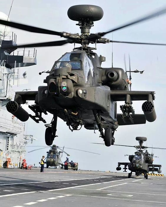 Apache lifting off from an aircraft carrier