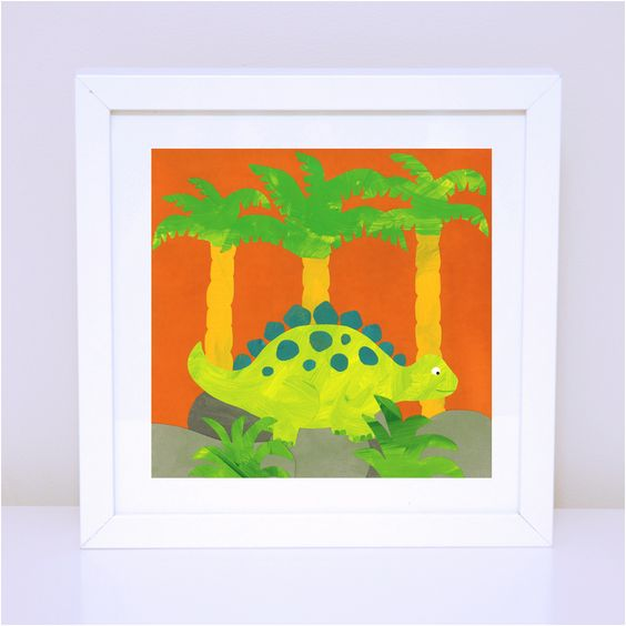 Art print for kids - Nursery and Bedroom Decor. Boy Print - Sir Stegosaurus. Available in 30x30cm and 12x12cm prints on high quality satin paper.