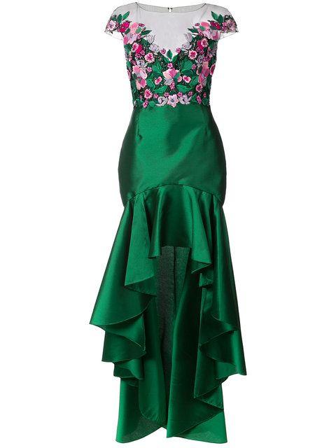 c5877ad6e Comprar Marchesa Notte vestido asimétrico con flores bordadas ...
