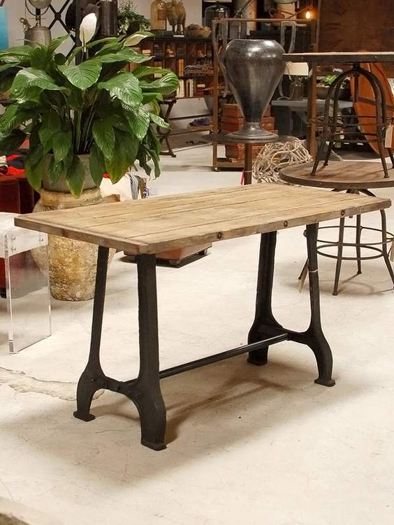 Bar height dining table love the day look of the top on a for Really cool dining tables