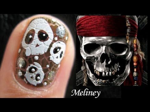Halloween Nails Pirates of the Caribbeans Floating Skull Nail Art Design Tutorial for Short Nails