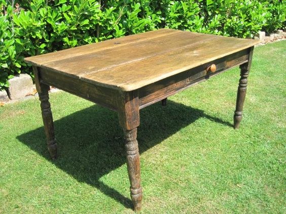 showing the drawer on side of antique reclaimed pine kitchen table with storage drawers plans