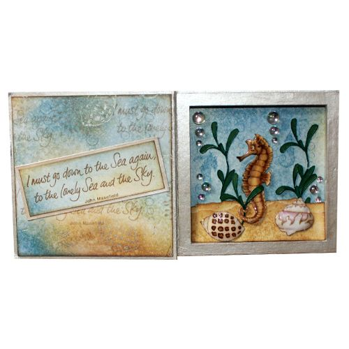 "This Printer's Tray was made by Sally Dodger using the new ""Shells"" stamp set designed by Sharon Bennett for Hobby Art Stamps.:"