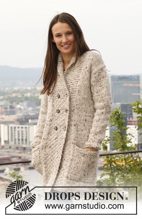 """Knitted DROPS jacket with shawl collar in """"Eskimo"""". Size: S - XXXL."""