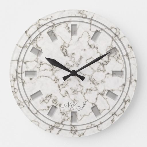 Monogrammed Marble Look Wall Clock Zazzle Com Clock Wall Marble Effect
