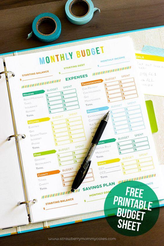 ... printable budget sheets on pinterest printable : Printable Daily