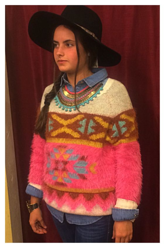 Bohemian Perfection in our Fuzzy Navajo Sweater, Blue Jean Collar Shirt, Felt Floppy hat , and Navajo Boho Necklace #bluesandshoes #carlsbad #trends #fashion #fall #2014 #style #bohemian #bohostyle