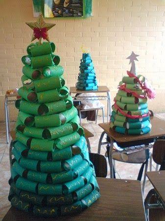 Arboles de navidad con tubos de papel - Manualidades navidad arbol ...
