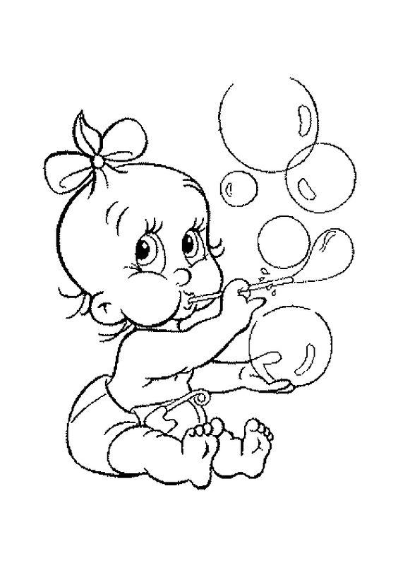 dessin colorier dun mignon petit bb - Coloriage Decoration Dune Chambre De Bebe