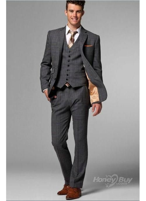 Grey Stripes Notch Lapel Big Men Suits Sale Custom made business