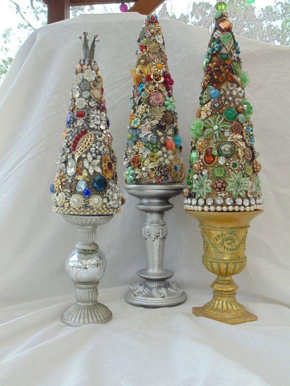 Vintage Rhinestone Jewelry Tree Decor by KarenKleylaDesigns